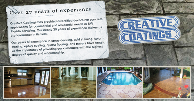 Driveway coatings, walkway coatings, floor coatings, pool deck coatings and more in Fort Myers FL